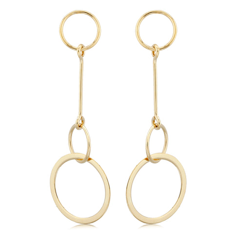 Yellow Gold Hanging Circle Earrings