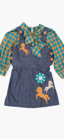 decaf plush Spiffy 2Pc Horse Applique Toddler Girl Dress & Vest