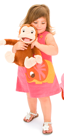 Pink A-Line Dress with Autumn Elephant Felt Applique
