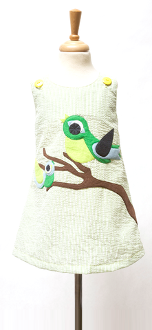 Green Seersucker A-Line Dress with Spring Birds Applique