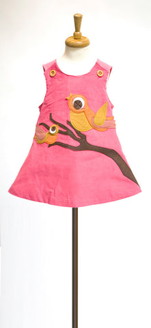 Pink A-Line Dress with Autumn Birds Felt Applique