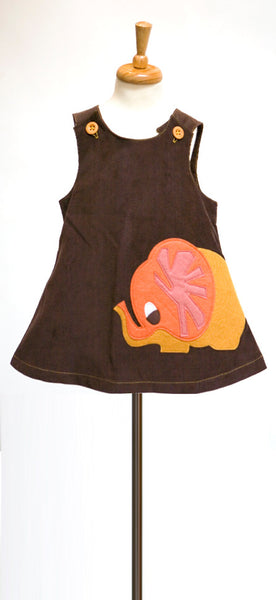 decaf plush autumn elephant felt applique a-line dress