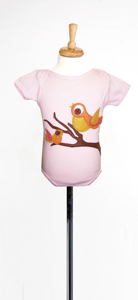 Autumn Birds on Soft Pink Applique Tee or Onesie
