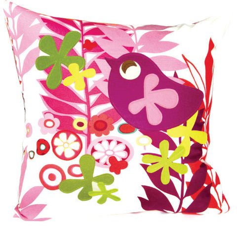 Mod Bird Floral Throw Pillow