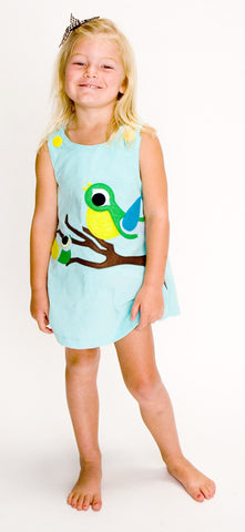 Baby Blue A-Line Dress with Spring Birds Applique