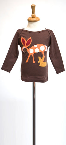Brown Doe a Deer Felt Applique Tee or Onesie