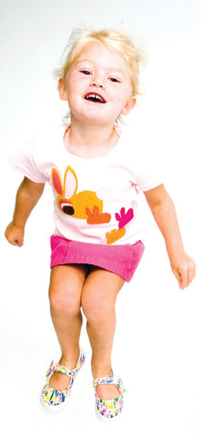 decaf plush felt appliqué bunnies babies tee or onesie