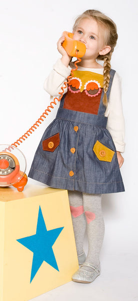 decaf plush chambray owl jumper for girls