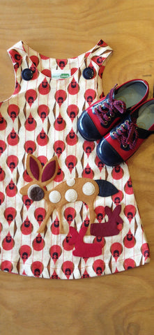 Charley Harper Cardinal print a-line dress by decaf plush