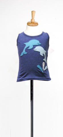 decaf plush dolphin applique tank