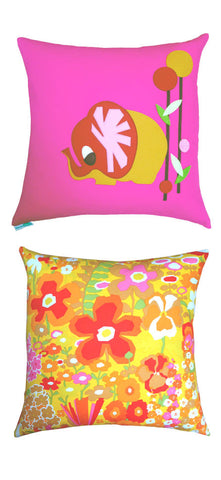 decaf plush pink & yellow floral felt elephant appliqué throw pillow