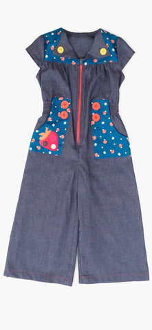 Farrah Jumpsuit with Berry Applique