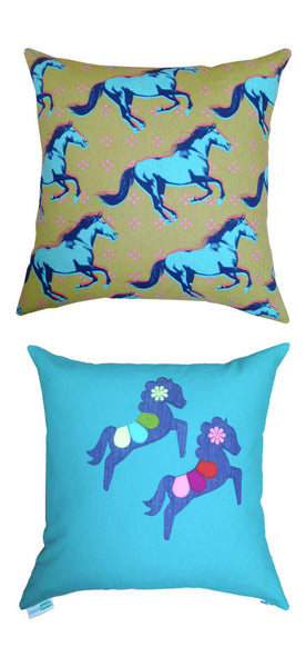 decaf plush teal & olive felt appliqué carousel horse throw pillow
