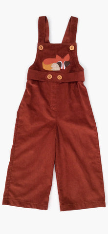 decaf plush Oliver Overalls with felt Fox Applique
