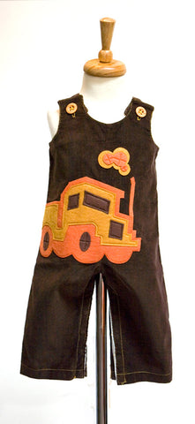 Brown Overalls with Autumn Truck Felt Applique