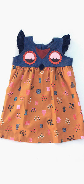 decaf plush toddler girls Fanciful Fall Owlet Smock Dress - Floral