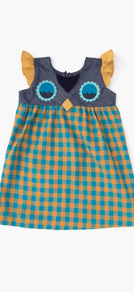decaf plush Fanciful Fall Owlet Smock Toddler Dress - Teal Gingham