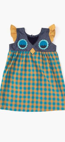 Fanciful Fall Owlet Smock - Teal Gingham