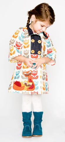 Floral Party Coat with Kitty Cat Applique
