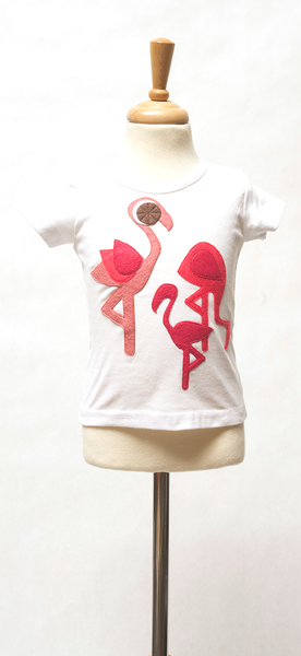 decaf plush flamingo appliqué girls tee