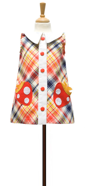 decaf plush plaid coatdress berry applique pockets