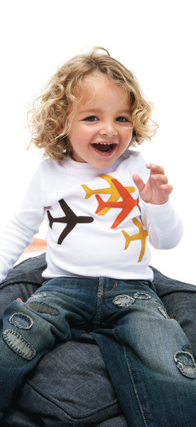 decaf plush felt applique planes tee
