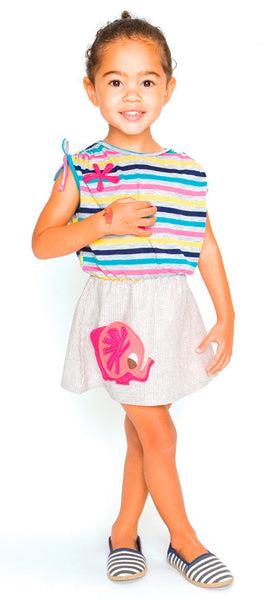 decaf plush flirty striped knit dress pink elephant applique pocket