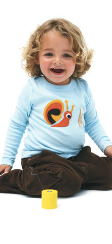 Autumn Snail on Soft Blue Applique Tee or Onesie