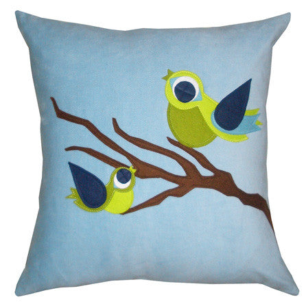 Spring Birds on Branch Applique Throw Pillow