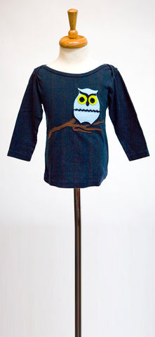decaf plush felt applique owl on branch tee