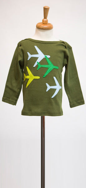 decaf plush planes felt applique tee