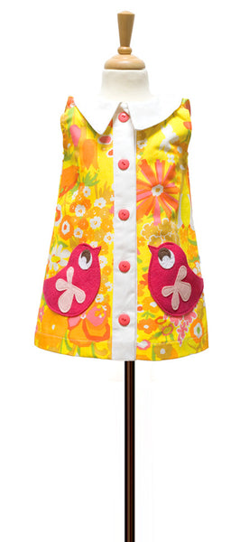 decaf plush retro coatdress applique bird pockets