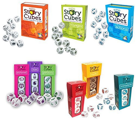 Rory's Story Cubes Bundle with Original, Actions, Voyages, Prehistoria, Enchanted, Clues, Intergalactic, Medic, Score (9 items)