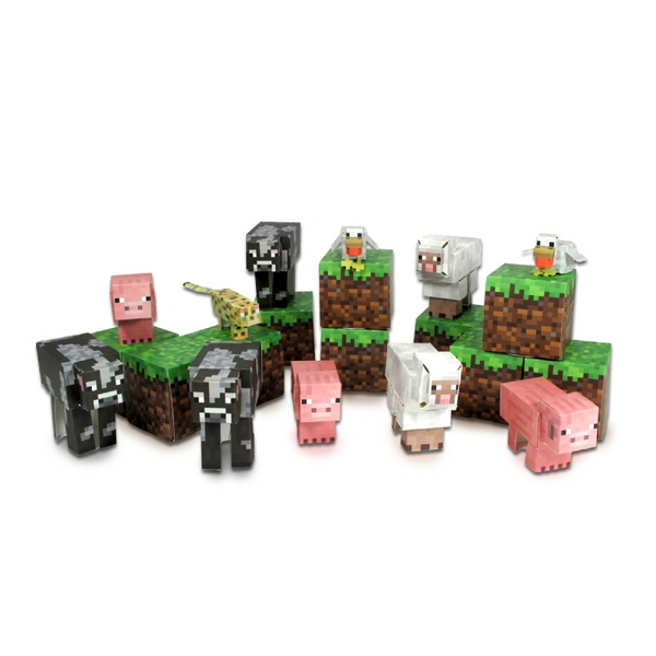 Minecraft Paper Craft Animal Mobs 30+ Piece Set