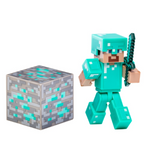 Minecraft Diamond Steve Action Figure with Removable Helmet, Diamond Block, and Sword (Series #2)