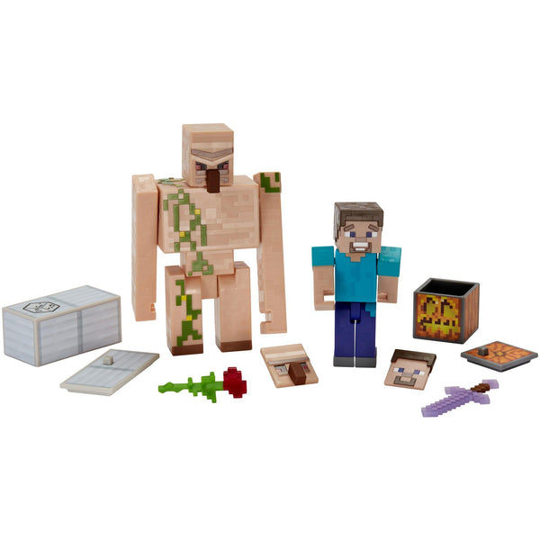 Minecraft Comic Maker Steve and Iron Golem Action Figure, 2-Pack