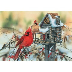 Cardinal's Rustic Retreat 500 pc Jigsaw Puzzle