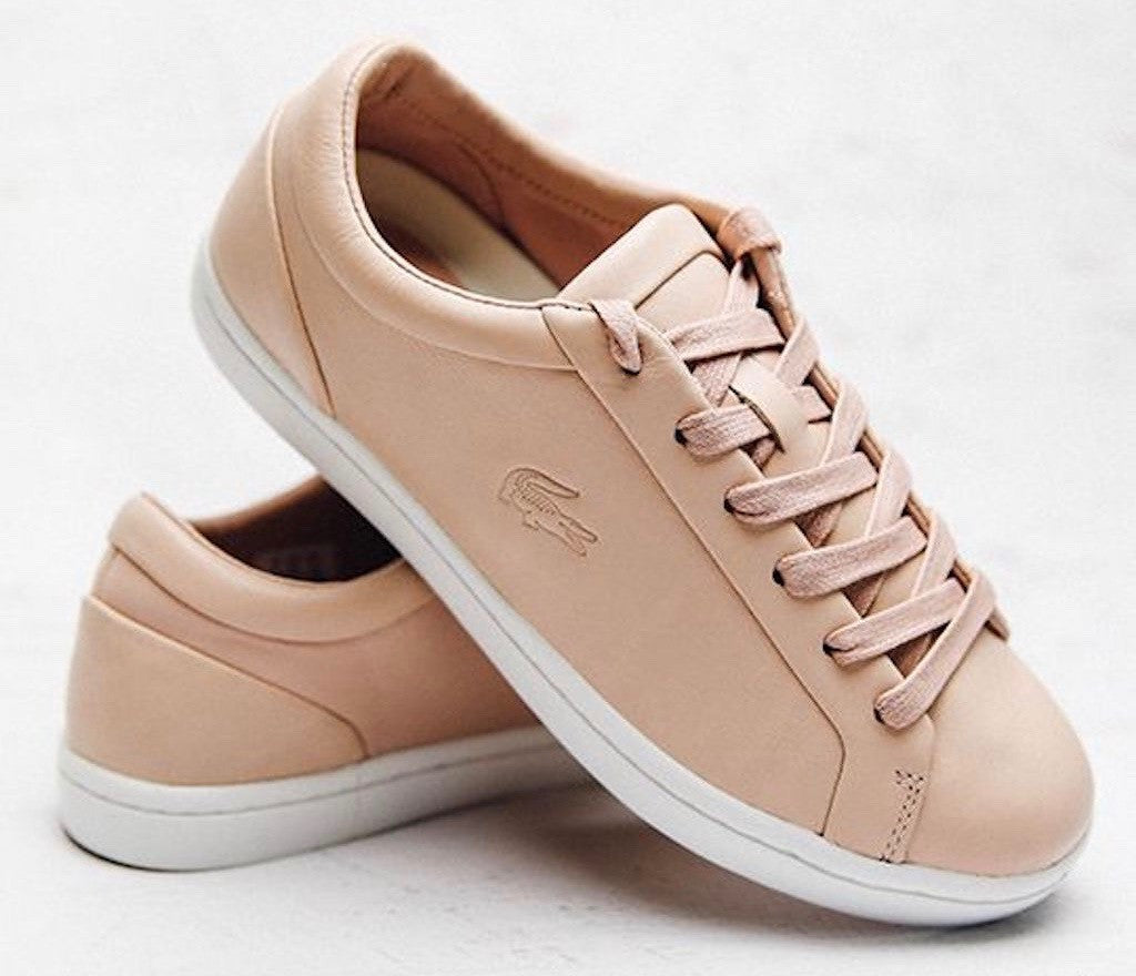 Lacoste Leather Pink Straightset Low Tops