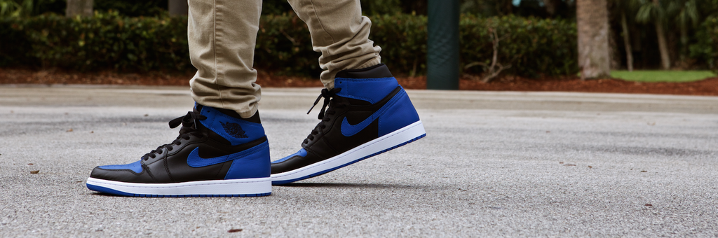 "Enter a chance to purchase a pair of the limited Jordan 1 Retro ""Royal"""