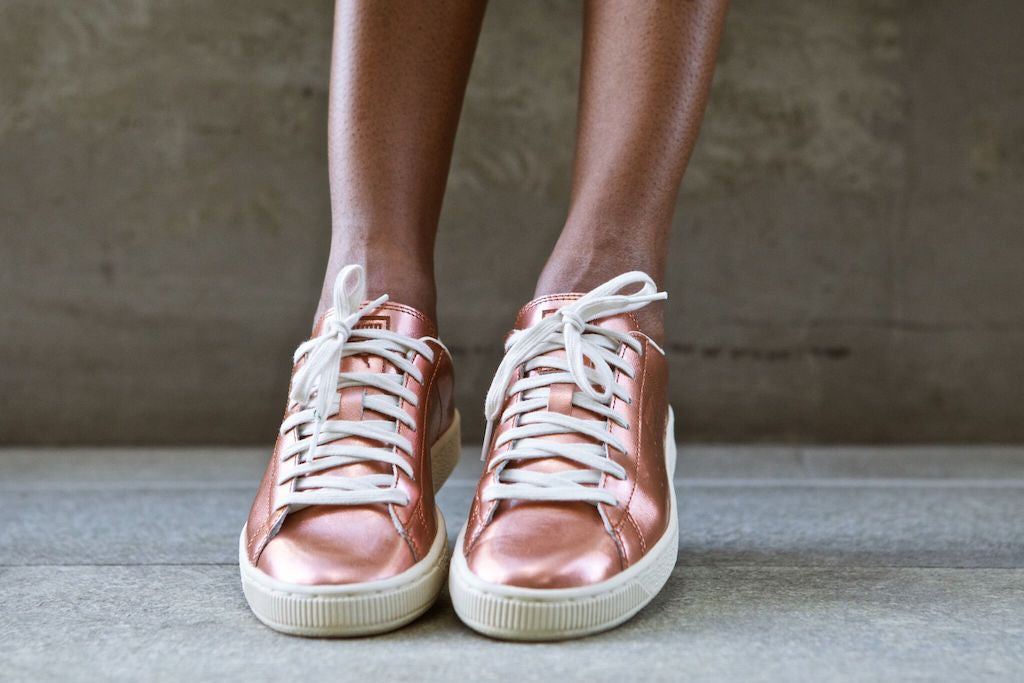 Camille in the Puma Citi Basket Metallic Sneakers
