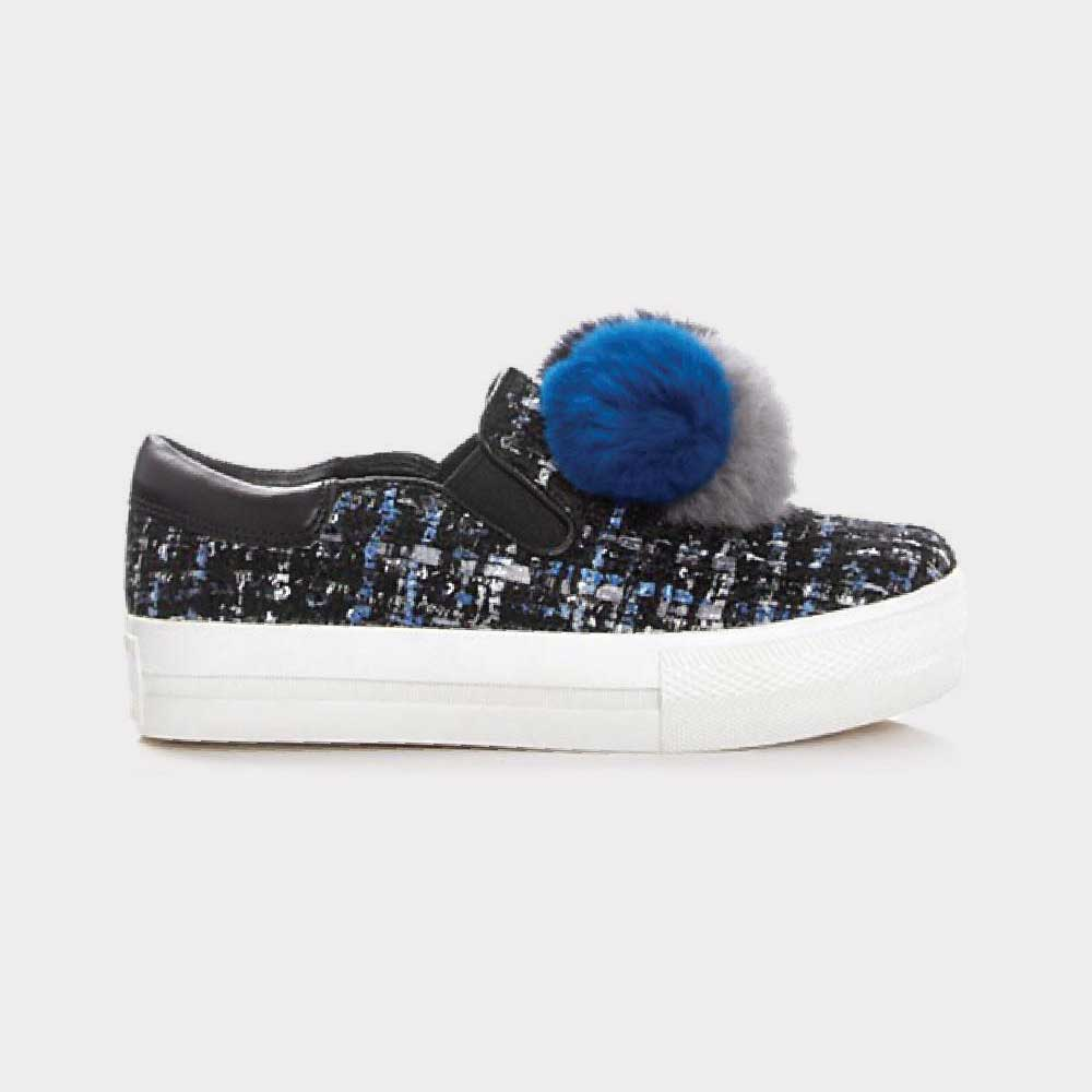 Ash Joy Rabbit Fur Pom Pom Slip-On Sneakers 360311-965