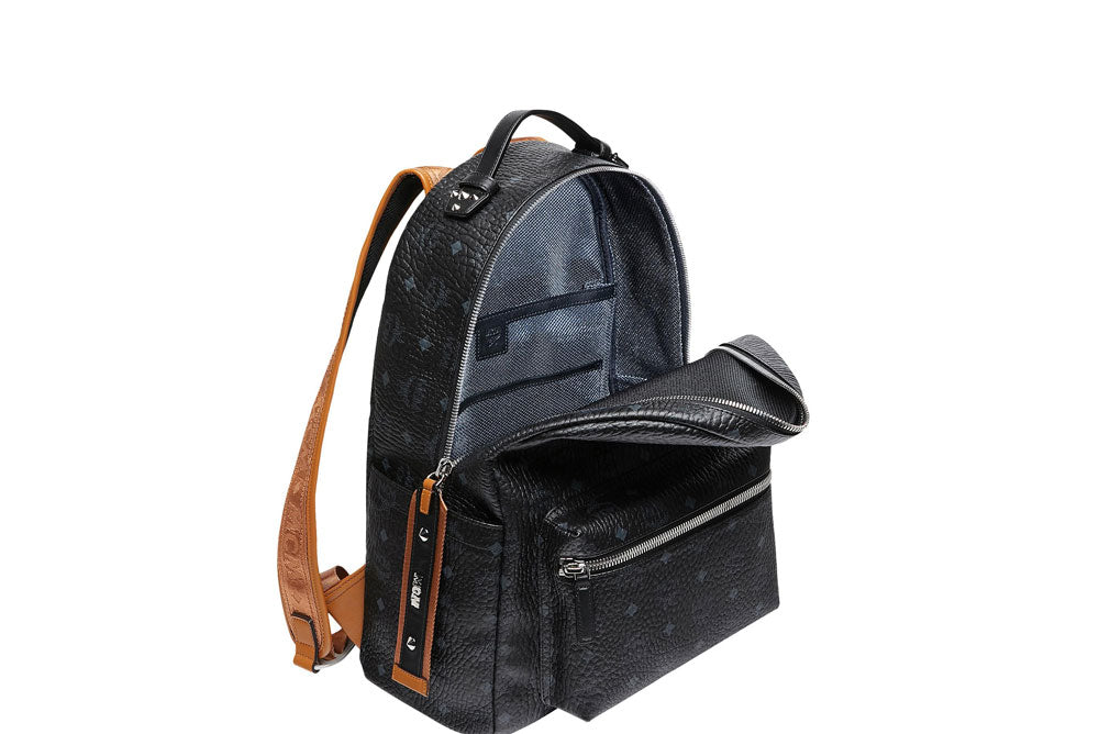 MCM Stark Backpack Logo Straps (Medium) Black MMK9SVE73BK001