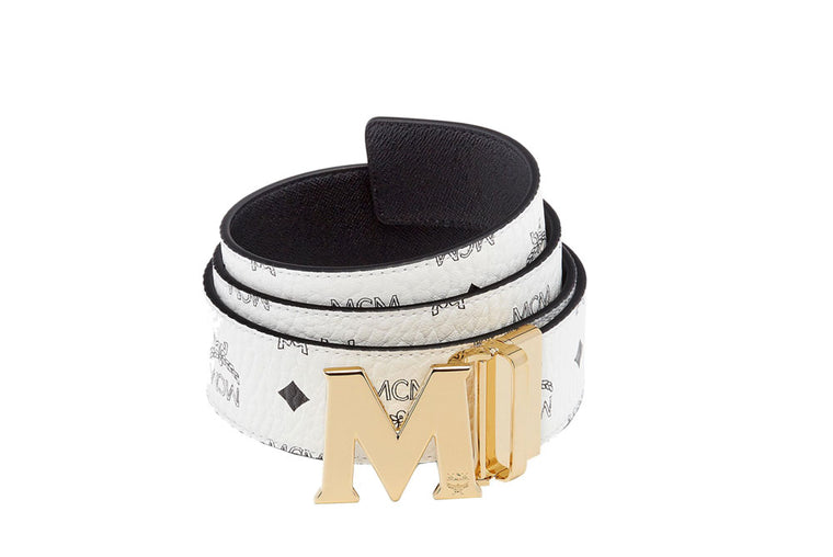 "MCM Reversible 51"" M Belt Gold/White MXB7SVI04WT001"