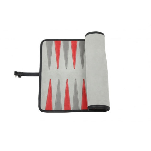 VICTOR - TRAVEL BACKGAMMON LEATHER VELVET GREY