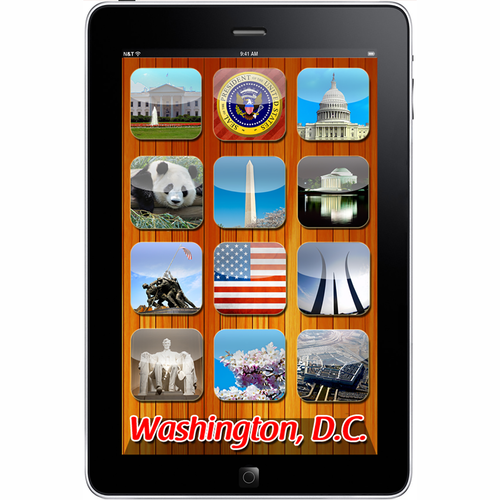 Washington DC Monuments App in iPad 2D Magnet 2