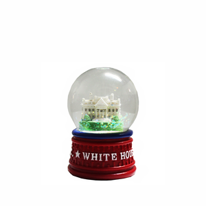 White House Red Base Ceramic Snow Globe Small 2 75 Nt