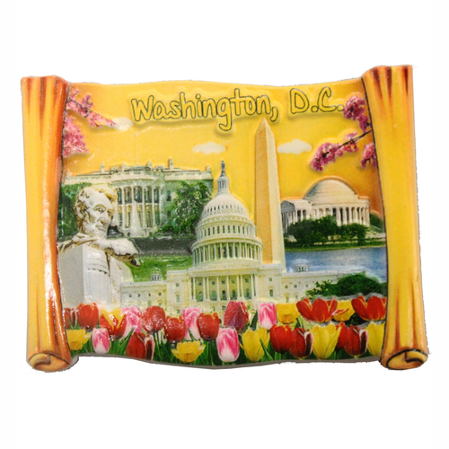 DC Monuments and Flowers on Yellow Scroll Ceramic Magnet, 3.25