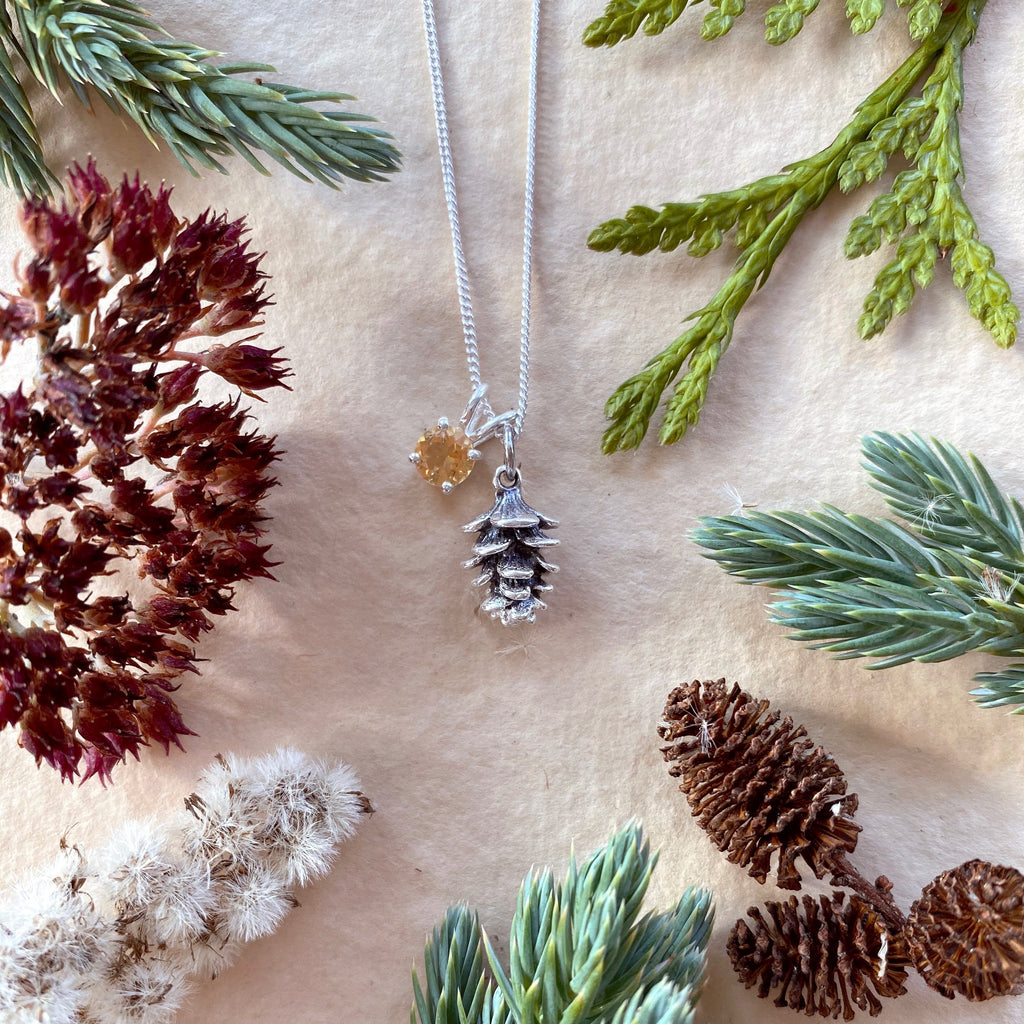 Tiny Pinecone Charm Necklace