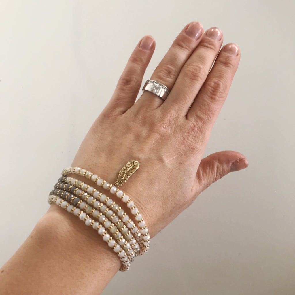 Beaded Wrap Bracelet in Whites