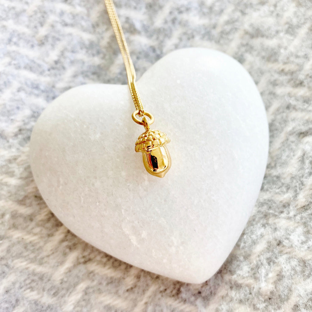 Tiny Gold Acorn Charm Necklace